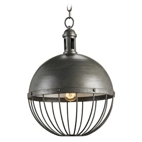 Currey and Company Lighting Round Cage Pendant 9886 KIT W/CLEAR LED G25 BULB
