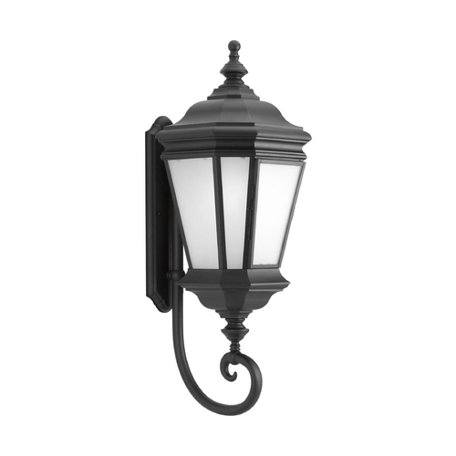 Progress Lighting Outdoor Wall Light with White Glass in Black Finish P6614-31