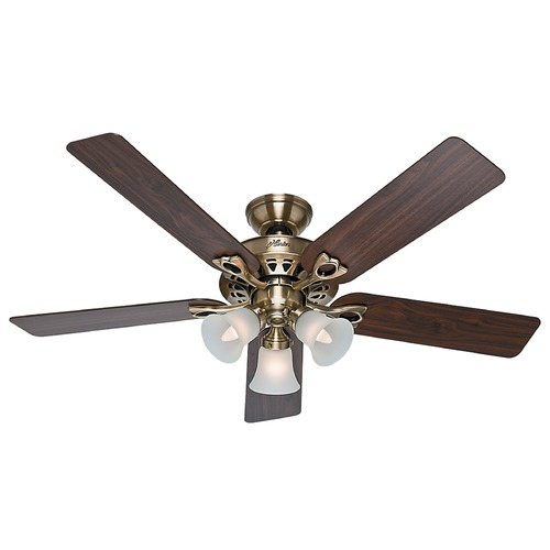 Hunter Fan Company Hunter Fan Company the Sontera Antique Brass Ceiling Fan with Light 53115
