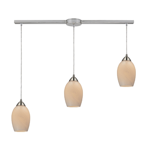 Elk Lighting Modern Multi-Light Pendant Light with White Glass and 3-Lights 10222/3L-COC