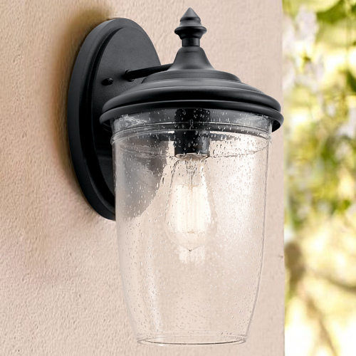 Kichler Lighting Seeded Glass Outdoor Wall Light Black Kichler Lighting 49821BKT