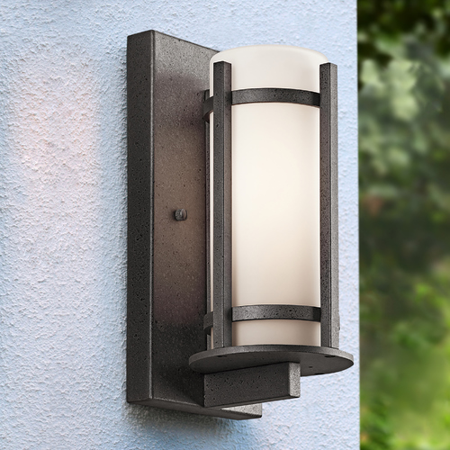 Kichler Lighting Kichler Outdoor Wall Light with White Glass in Anvil Iron Finish 49119AVI