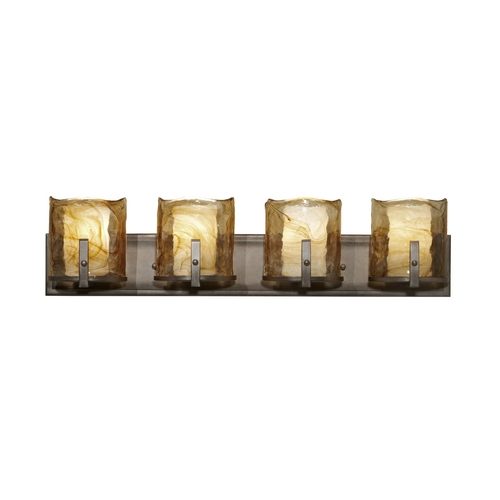 Feiss Lighting Modern Bathroom Light with Art Glass in Roman Bronze Finish VS18904-RBZ