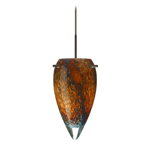 Besa Lighting Modern Pendant Light with Multi-Color Glass in Bronze Finish 1JT-4125CE-BR
