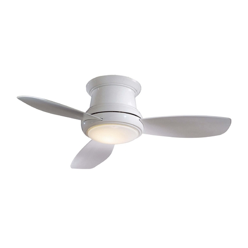 Minka Aire Fans Modern Ceiling Fan with Light with White Glass in White Finish F518-WH