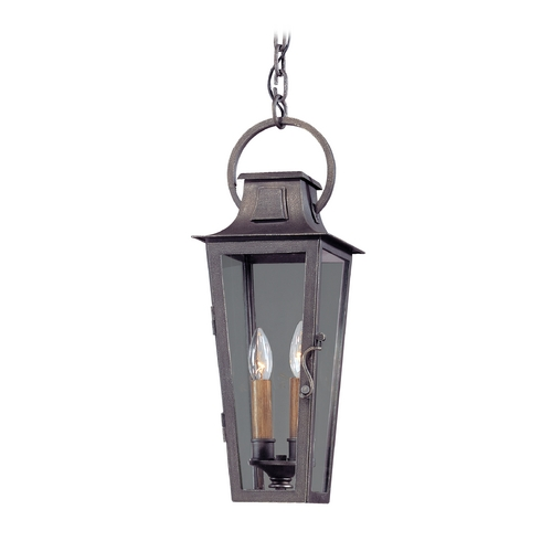 Troy Lighting Outdoor Hanging Light with Clear Glass in Aged Pewter Finish F2966