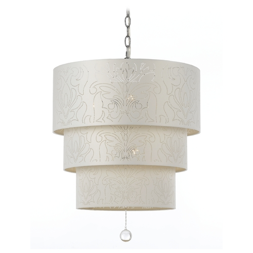 AF Lighting Tiered Pendant Light with Drum Shades and Crystal Drop Accent Piece 8444-5H