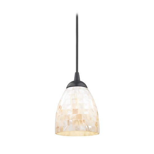 Design Classics Lighting Mosaic Mini-Pendant Light with Bell Glass Shade in Black Finish 582-07  GL1026MB