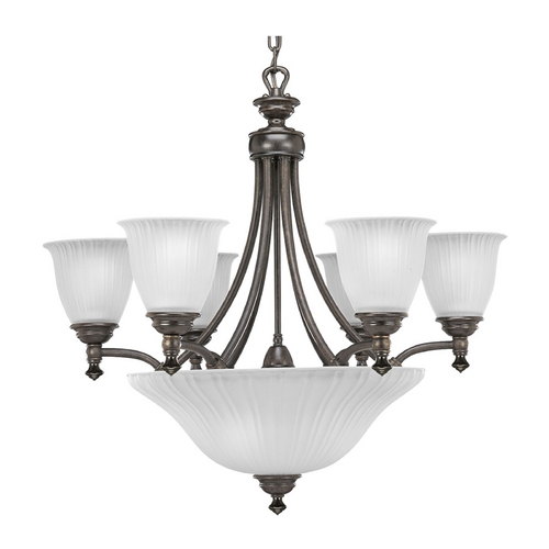 Progress Lighting Progress Chandelier with White Glass in Forged Bronze Finish P4116-77