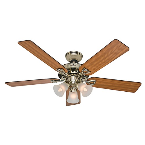 Hunter Fan Company Hunter Fan Company the Sontera Bright Brass Ceiling Fan with Light 53116