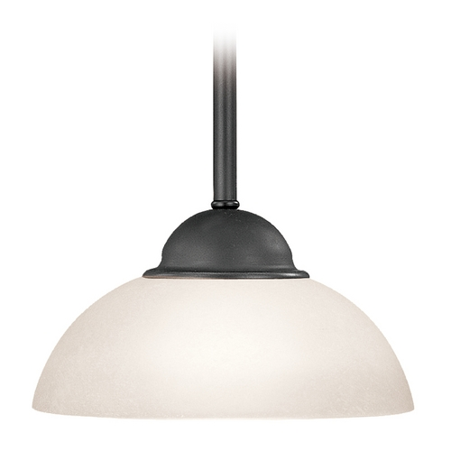 Dolan Designs Lighting Bronze Mini-Pendant Light with White Dome Glass 200-46