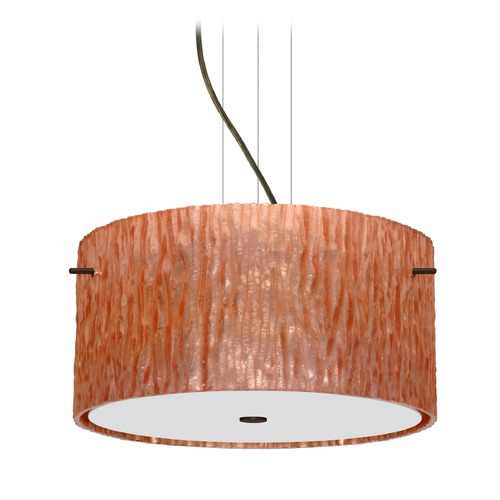 Besa Lighting Besa Lighting Tamburo Bronze LED Pendant Light with Drum Shade 1KV-4008CS-LED-BR
