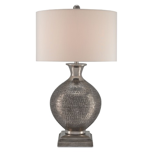 Currey and Company Lighting Currey and Company Evolution Antique Nickel Table Lamp with Drum Shade 6967