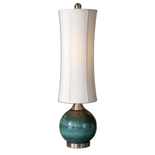 Uttermost Lighting Modern Table Lamp with White Shade in Blue Finish 29287-1