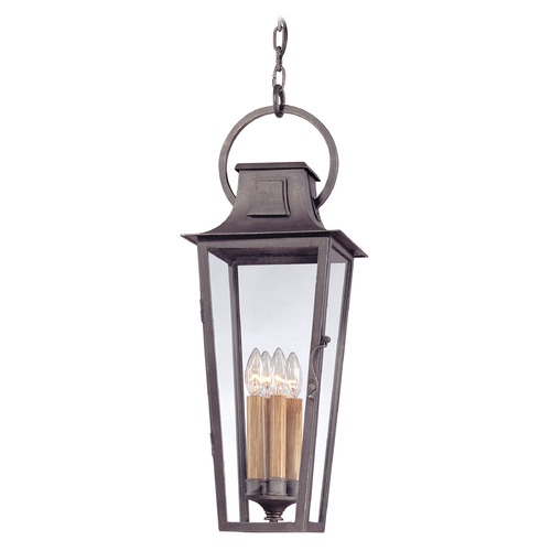 Troy Lighting Outdoor Hanging Light with Clear Glass in Aged Pewter Finish F2967