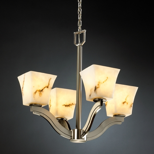 Justice Design Group Justice Design Lumenaria 4-Light Chandelier in Brushed Nickel FAL-8970-40-NCKL