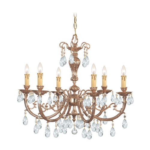 Crystorama Lighting Crystal Chandelier in Olde Brass Finish 496-OB-CL-MWP