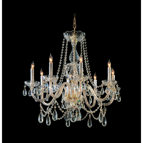 Crystorama Lighting Crystal Chandelier in Polished Brass Finish 1128-PB-CL-S