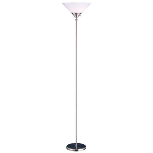 Adesso Home Lighting Modern Torchiere Lamp with White in Satin Steel Finish 7501-22
