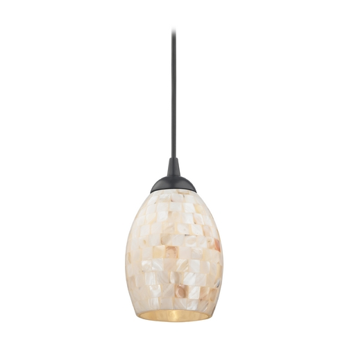 Design Classics Lighting Mosaic Mini-Pendant Light with Oblong Glass Shade in Black Finish 582-07  GL1034