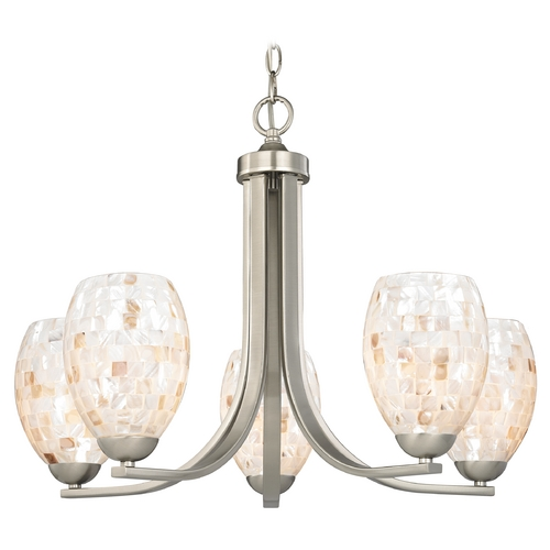 Design Classics Lighting Chandelier with Mosaic Glass in Satin Nickel Finish 584-09 GL1034