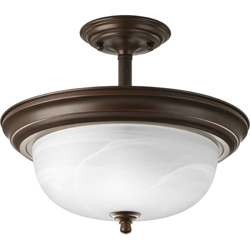 Progress Lighting Progress Bronze Semi-Flushmount Ceiling Light with Alabaster Glass P3927-20