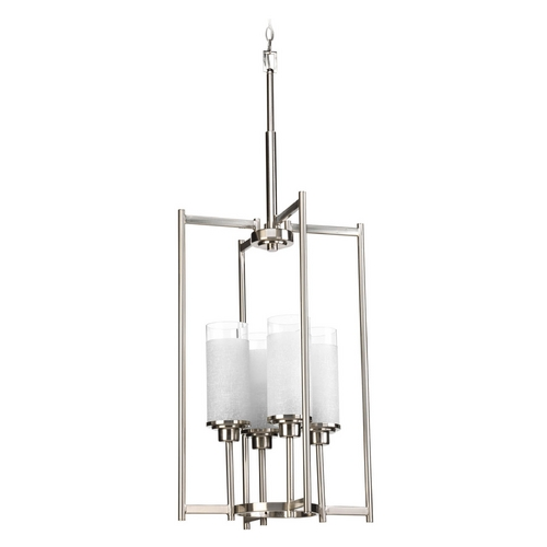 Progress Lighting Modern Pendant Light with White Glass in Brushed Nickel Finish P3977-09