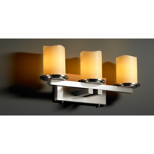 Justice Design Group Justice Design Group Candlearia Collection Bathroom Light CNDL-8773-14-AMBR-NCKL