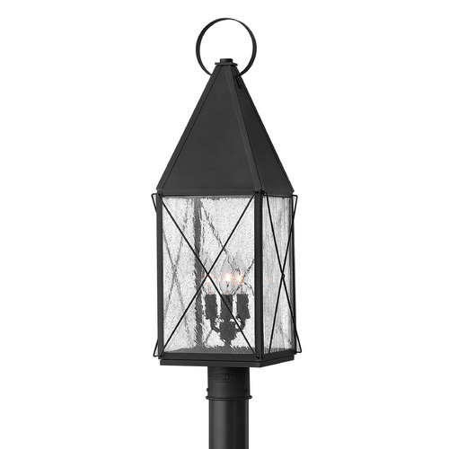 Hinkley Lighting Seeded Glass Post Light Black Hinkley Lighting 1841BK