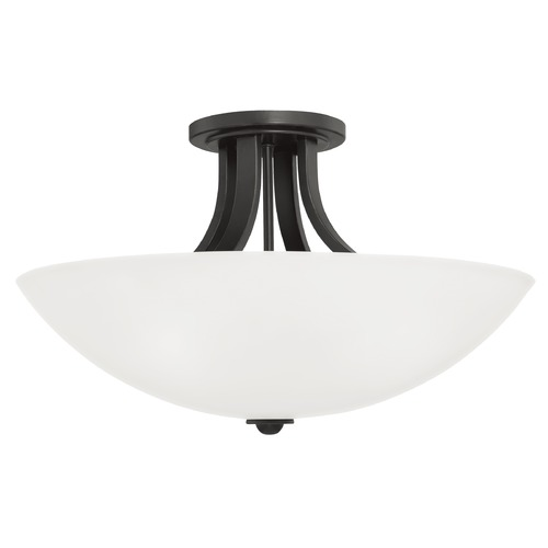 Dolan Designs Lighting Dome Semi-Flushmount Ceiling Light with White Glass and Three Lights 203-46
