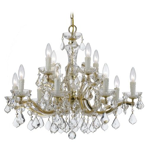 Crystorama Lighting Crystorama Maria Theresa 2-Tier 12-Light Crystal Chandelier in Gold 4379-GD-CL-SAQ