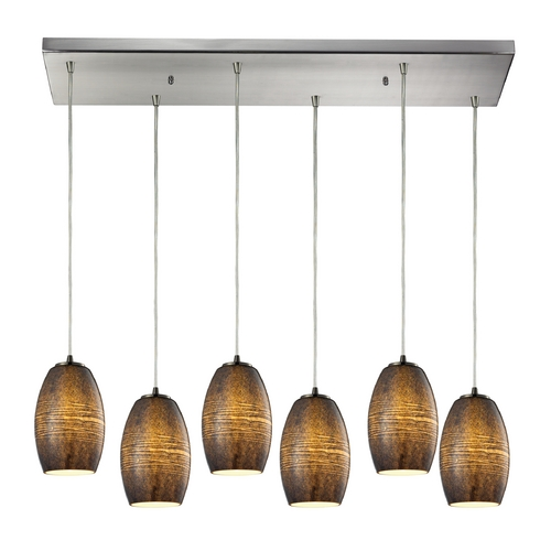 Elk Lighting Modern Multi-Light Pendant Light with Beige / Cream Glass and 6-Lights 10330/6RC-TM