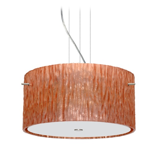 Besa Lighting Besa Lighting Tamburo Satin Nickel LED Pendant Light with Drum Shade 1KV-4008CS-LED-SN