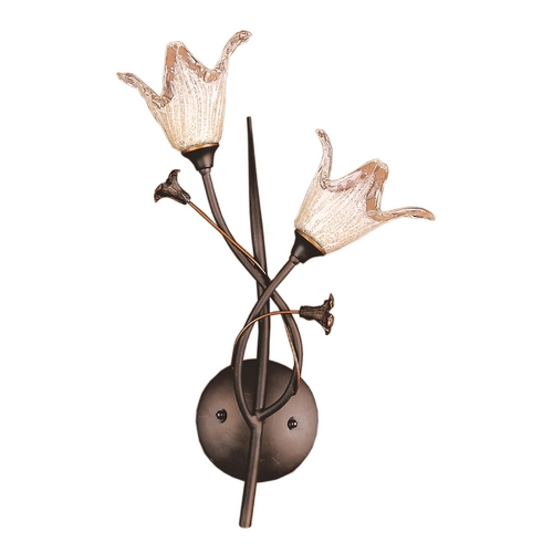 Elk Lighting Sconce Wall Light with Beige / Cream Glass in Aged Bronze Finish 7953/2