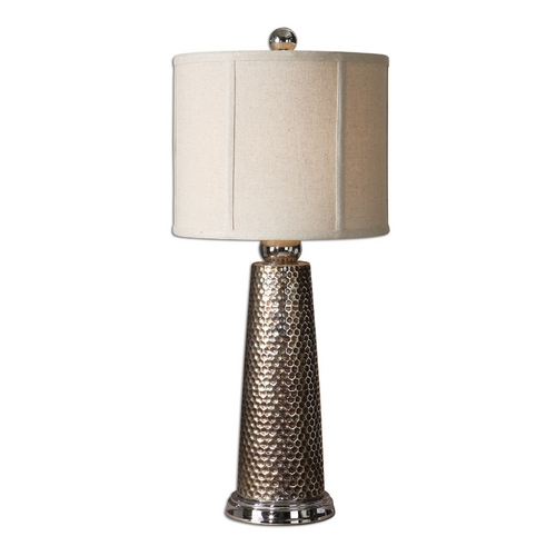Uttermost Lighting Table Lamp with Beige / Cream Shade in Golden Bronze Finish 29288-1