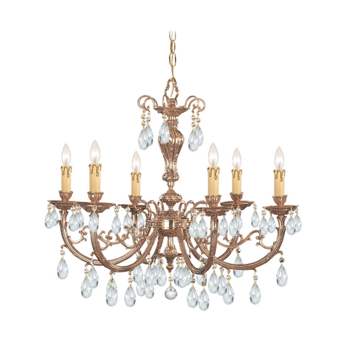 Crystorama Lighting Crystal Chandelier in Olde Brass Finish 496-OB-CL-S