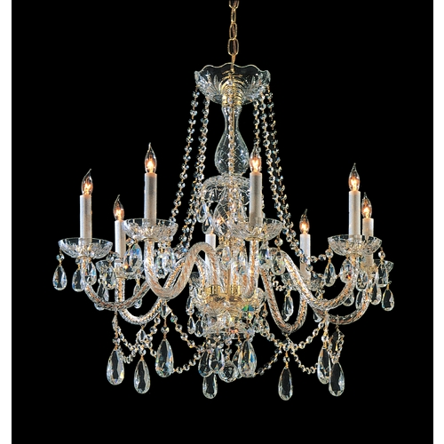 Crystorama Lighting Crystal Chandelier in Polished Brass Finish 1128-PB-CL-SAQ