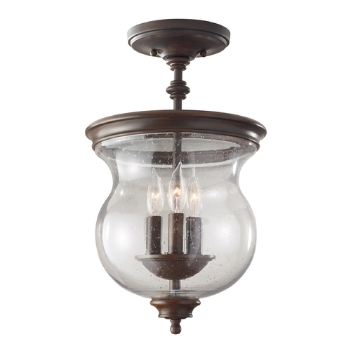 Feiss Lighting Semi-Flushmount Light with Clear Glass in Heritage Bronze Finish SF309HTBZ