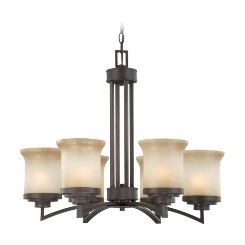 Nuvo Lighting Modern Chandelier with Beige / Cream Glass in Dark Chocolate Bronze Finish 60/4125