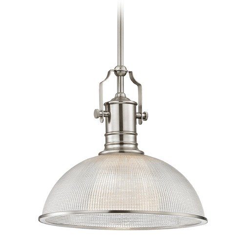 Design Classics Lighting Industrial Pendant Light Prismatic Glass Satin Nickel 13.13-Inch Wide 1765-09 G1780-FC R1780-09