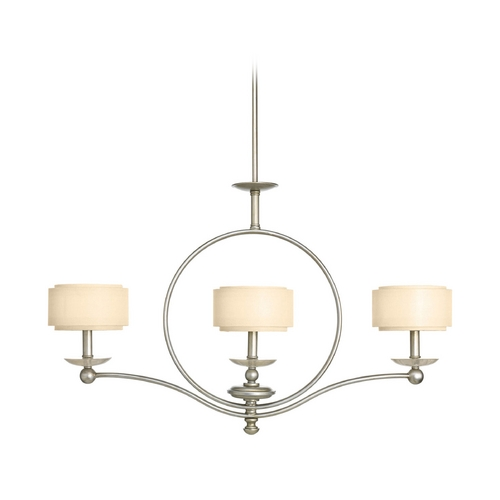 Progress Lighting Drum Island Light with Beige / Cream Shades in Silver Ridge Finish P4349-134