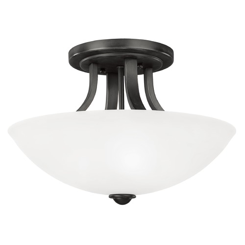 Dolan Designs Lighting Bronze Ceiling Light with White Dome Glass Shade and Three Lights 204-46
