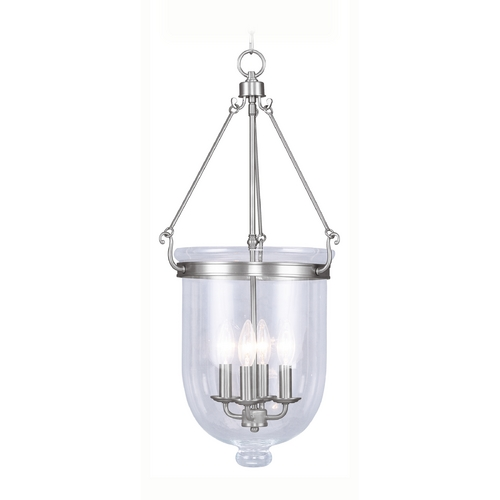 Livex Lighting Livex Lighting Jefferson Brushed Nickel Pendant Light with Bowl / Dome Shade 5065-91
