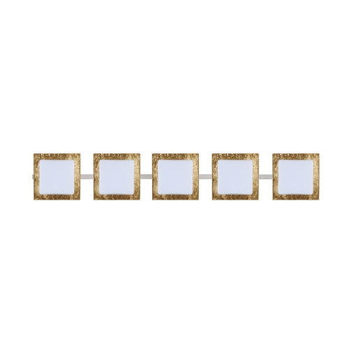 Besa Lighting Modern Bathroom Light with Gold Glass in Satin Nickel Finish 5WS-7735GF-SN