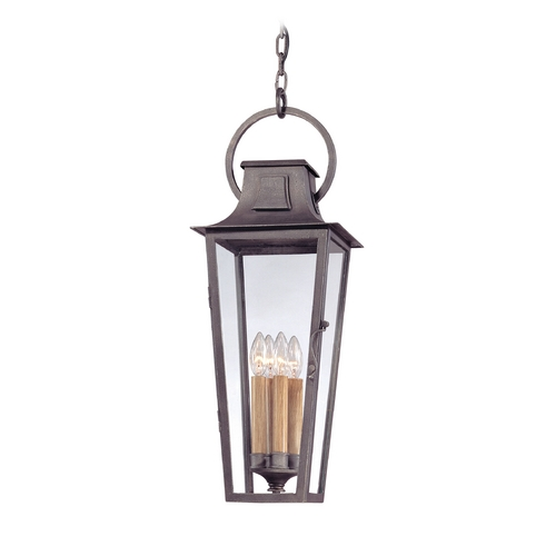 Troy Lighting Outdoor Hanging Light with Clear Glass in Aged Pewter Finish FF2967