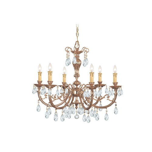 Crystorama Lighting Crystal Chandelier in Olde Brass Finish 496-OB-CL-SAQ