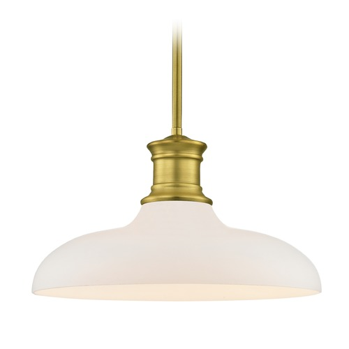 Design Classics Lighting Industrial Satin Brass Pendant Light with White Glass 14-Inch Wide 1761-12 G1784-WH