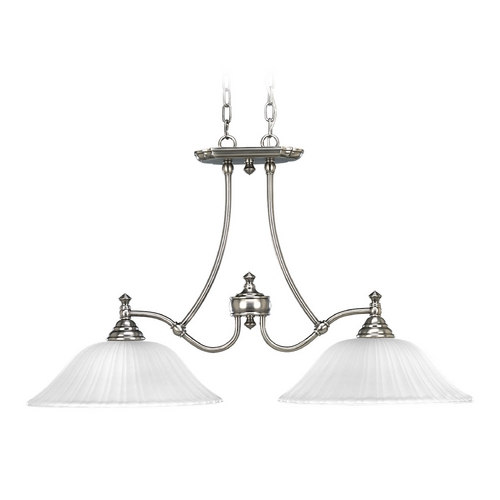 Progress Lighting Progress Island Light with White Glass in Antique Nickel Finish P4113-81
