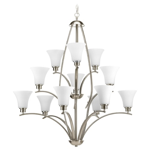 Progress Lighting Chandelier with White Glass in Brushed Nickel Finish P4497-09