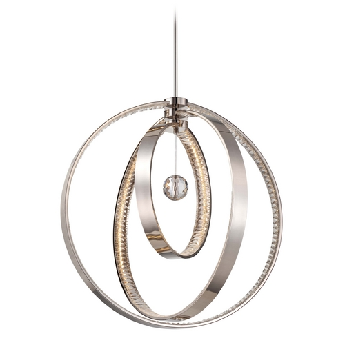 Metropolitan Lighting Crystal LED Pendant Light in Polished Nickel Finish N6995-613-L